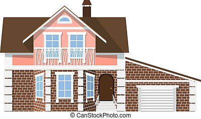Flat style. style. Small beautiful two-storey house with garage on a white background. Icon