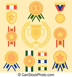 Flat Style Success Icons Medals Set