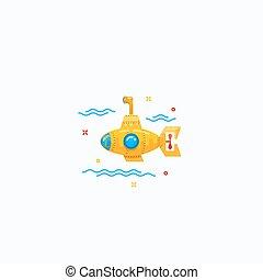 Flat Style Tiny Cartoon Submarine Icon Illustration.