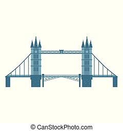 Flat style Tower Bridge, London, England symbol