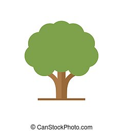 Flat Style Tree with Green Leaves Logo. Vector