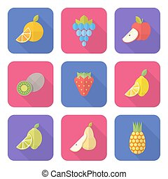 flat style various fruits icons