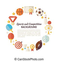 Flat Style Vector Circle Template of Sport Recreation and...