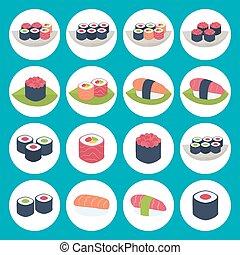 Sushi circular icon set over blue