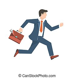 Flat style vector illustration of a businessman running, business concept