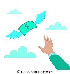 Flat style vector illustration of a hand reaching for paper money with wings flying away, loss concept