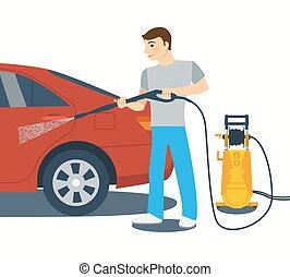 Flat style vector illustration of man washing a car. - Man...