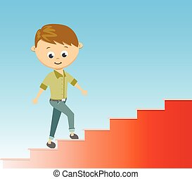 Flat style vector illustration stairway to success in career concept.