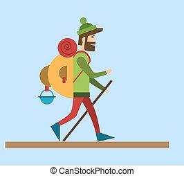 Flat style vector illustration Tourist