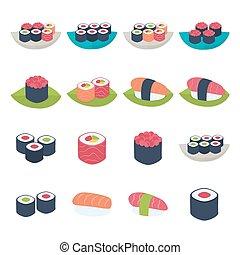 Sushi icon set over white