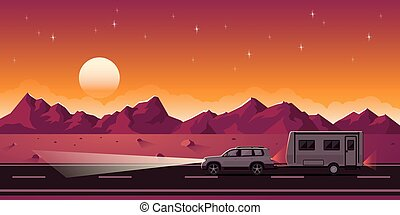 SUV and trailer - Flat style web banner on road trip,...