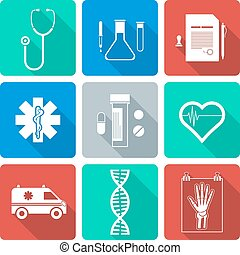 vector various flat design white silhouette medical icons with shadow