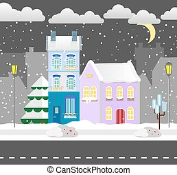 Flat style winter house. Cottage. Vector illustration. Snowfall background. Flat design winter card.