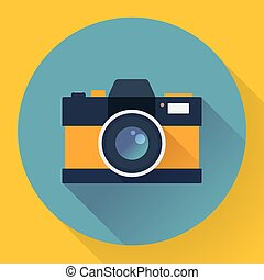 Flat style with long shadows, camera vector icon illustration