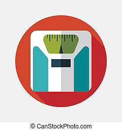 Flat style with long shadows, weight scale vector icon...