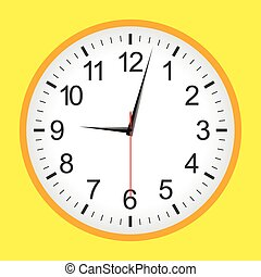 Flat style yellow analogue clock