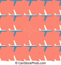 Flat styled seamless pattern with missing plane