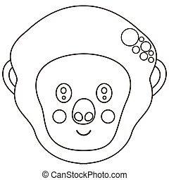 Flat stylized black and white cute smiling cartoon face of a western gorilla. Cute monochrome head of African primate for an icon, coloring book, logotype. Vector.
