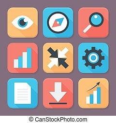 Flat Stylized Business App Icons Set