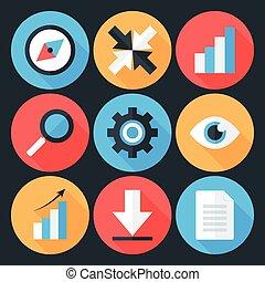 Flat Stylized Business Icons Set over Dark Background