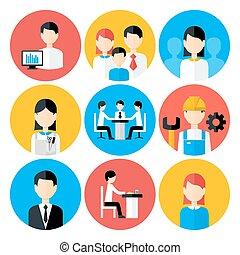 Flat stylized business people icons set