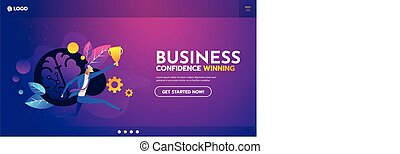 Flat successful Businessman holding winning gold cup in his hand web template and layour vector illustration. Winner, Successful Business concept.