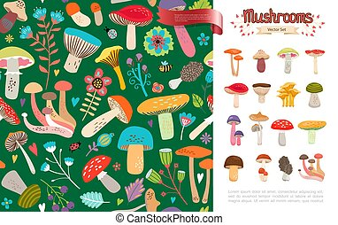 Flat Summer Forest Mushrooms Concept