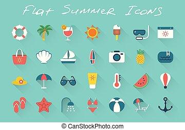 Flat summer icons set on blue background