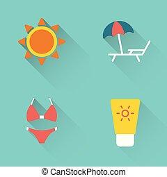 Flat summer sunbathing icons on blue background