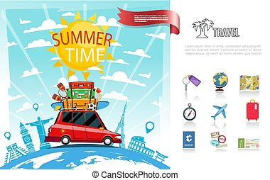 Flat Summer Travel Concept