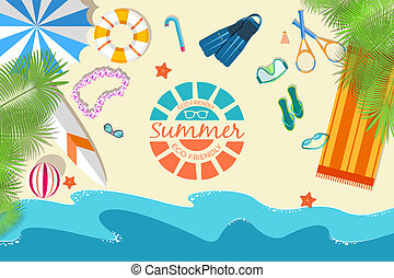 flat summer vacation time background vector illustration concept