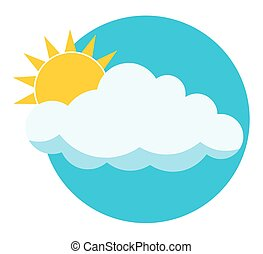 Flat sun behind cloud over blue sky. Sun. Cloud. Icon. Logo.  Isolated