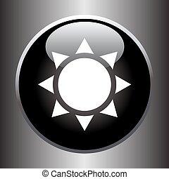 Flat sun icon on black button