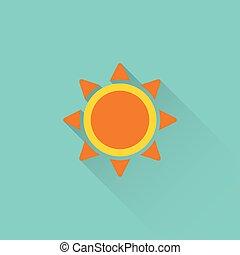 flat sun icon on blue background