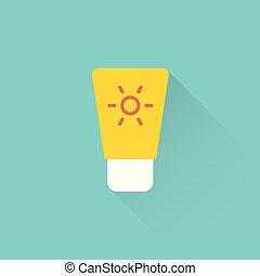 flat sun protection cream icon on blue background - flat sun...