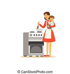 Flat super mom cooking character with child
