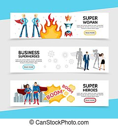 Flat Superhero Horizontal Banners
