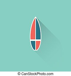 flat surfboard icon on blue background