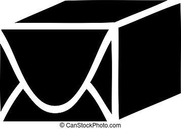 flat symbol paper parcel - flat symbol of a paper parcel