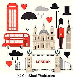 Flat symbol United Kingdom, London travel icon landmark....