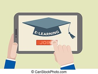 FLAT tablet eLearning - minimalistic illustration of a ...