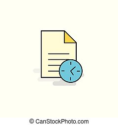 Flat Task on time Icon. Vector