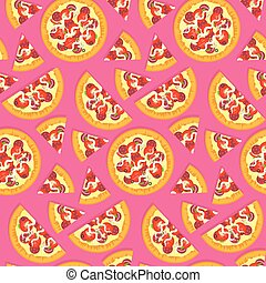 Flat tasty italian pizza pattern on pink