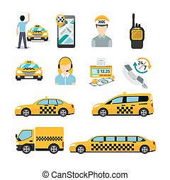 Flat taxi icons. Transportation service. Cab and vehicle,...