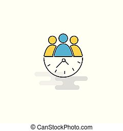 Flat Team on time Icon. Vector