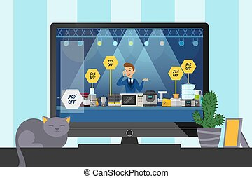 Flat telemarketing sale small household appliances, kitchen stuff for home vector illustration. Cat sit TV and cactus poster, design banner.