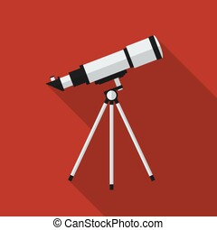 Flat telescope with long shadow. Vector icon