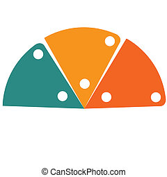 Flat template infographic color semicircle 3 positions -...