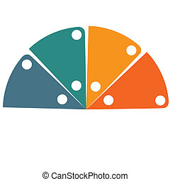 Flat template infographic color semicircle 4 positions -...