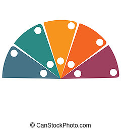 Flat template infographic color semicircle 5 positions -...